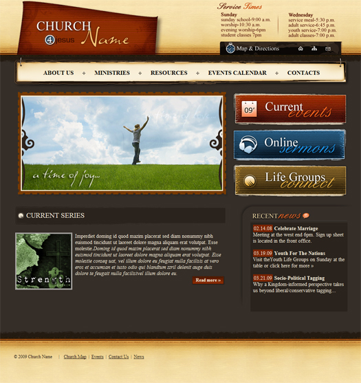 Church Website Template 128 Homepage