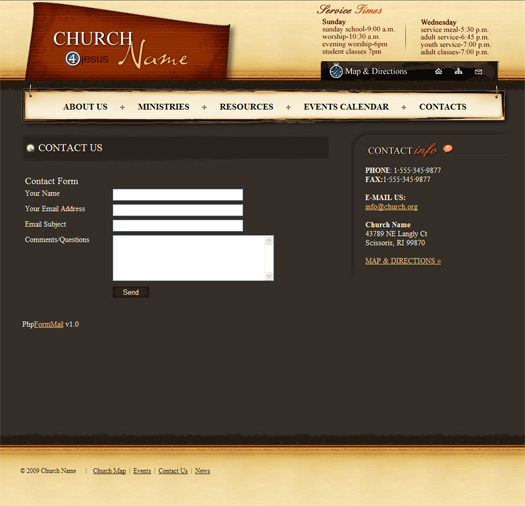 Web Sitemap Page: Church Template (Complete Website