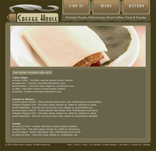 Coffee shop menu page