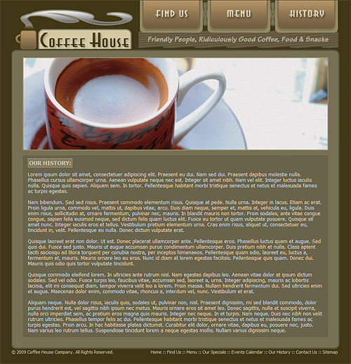 "Coffee shop template ""Our History"" page"
