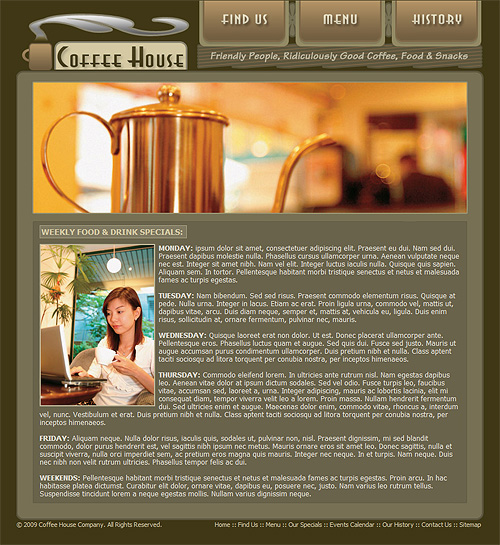 coffee shop website template coffee web template 212. Black Bedroom Furniture Sets. Home Design Ideas