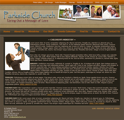 Children's Ministry web page layout.