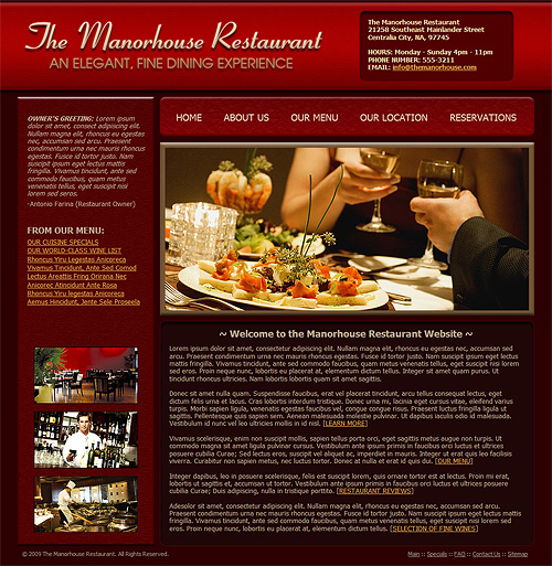 Restaurant Website Design Templates: Restaurant Website Template