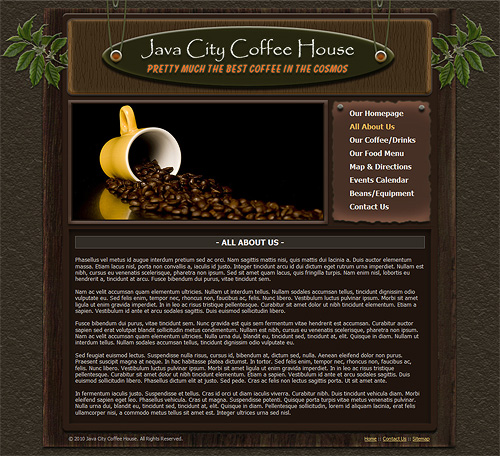 coffee shop website template - coffee house web template  258