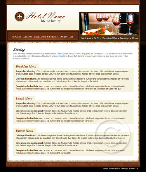 Dining resort template design.